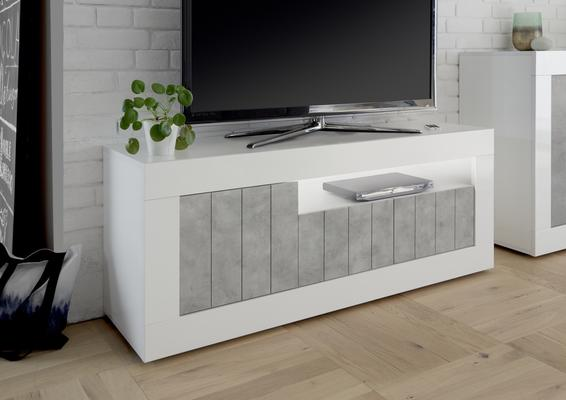 Como Three Door TV Unit - White Gloss and Grey Finish