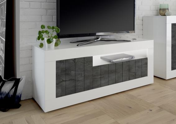Como Three Door TV Unit - White Gloss/Anthracite Finish