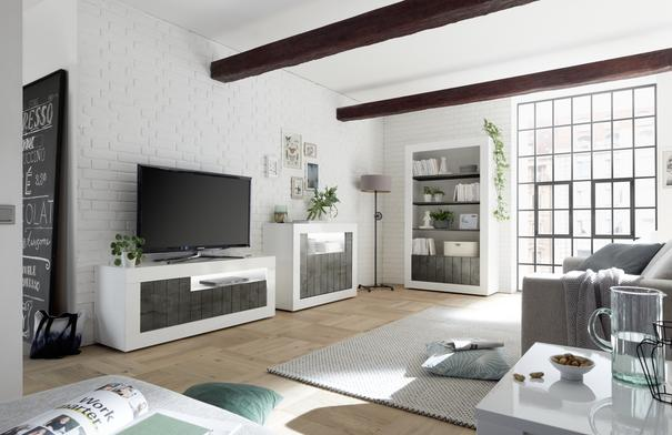 Como Three Door TV Unit - White Gloss/Anthracite Finish image 2