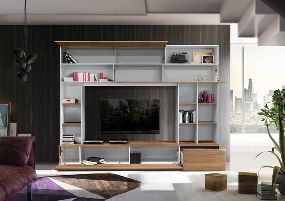 Novara TV  and Wall Storage System  White and Walnut Finish image 2