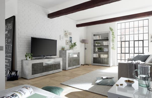 Como Three Door TV Unit  - Grey and Anthracite Finish image 2