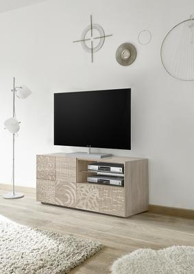 Messina Small TV Unit - Samoa Oak with Decorative Stencil