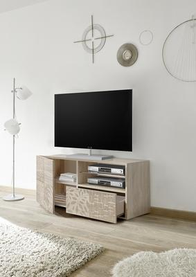 Messina Small TV Unit - Samoa Oak with Decorative Stencil image 2