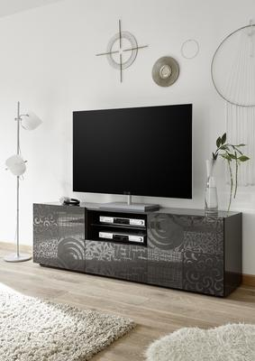 Messina Large TV Unit - Grey Gloss Lacquer Finish with Decorative Stencil