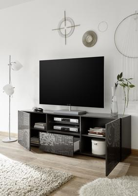 Messina Large TV Unit - Grey Gloss Lacquer Finish with Decorative Stencil image 2