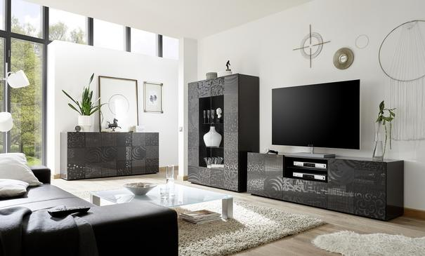 Messina Large TV Unit - Grey Gloss Lacquer Finish with Decorative Stencil image 4