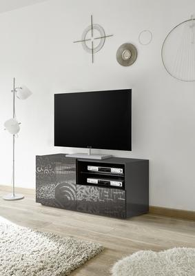 Messina Small TV Unit - Grey Gloss Lacquer Finish with Decorative Stencil