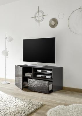 Messina Small TV Unit - Grey Gloss Lacquer Finish with Decorative Stencil image 2