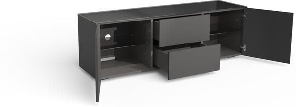 Contemporary Matt Grey TV cabinet With Hidden Wireless Phone Charging image 2