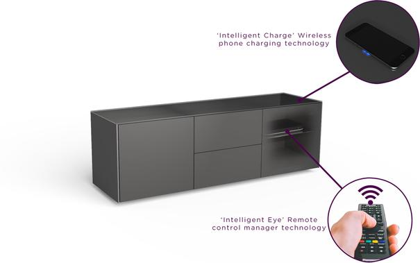 Contemporary Matt Grey TV cabinet With Hidden Wireless Phone Charging image 4