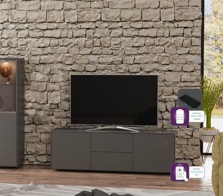 Contemporary Matt Grey TV cabinet With Hidden Wireless Phone Charging image 5