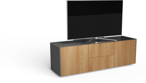 Contemporary Matt Grey and Oak Veneer TV Cabinet with Hidden Wireless Phone Charging image 2