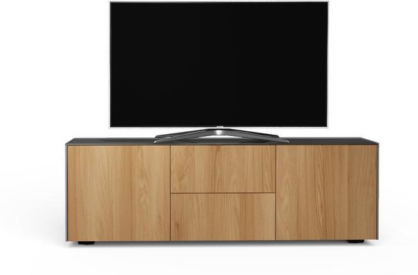 Contemporary Matt Grey and Oak Veneer TV Cabinet with Hidden Wireless Phone Charging image 3