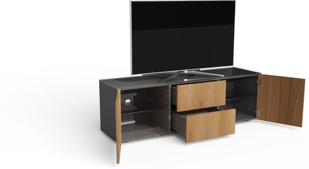 Contemporary Matt Grey and Oak Veneer TV Cabinet with Hidden Wireless Phone Charging image 4