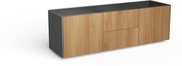 Contemporary Matt Grey and Oak Veneer TV Cabinet with Hidden Wireless Phone Charging image 5