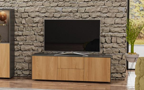 Contemporary Matt Grey and Oak Veneer TV Cabinet with Hidden Wireless Phone Charging