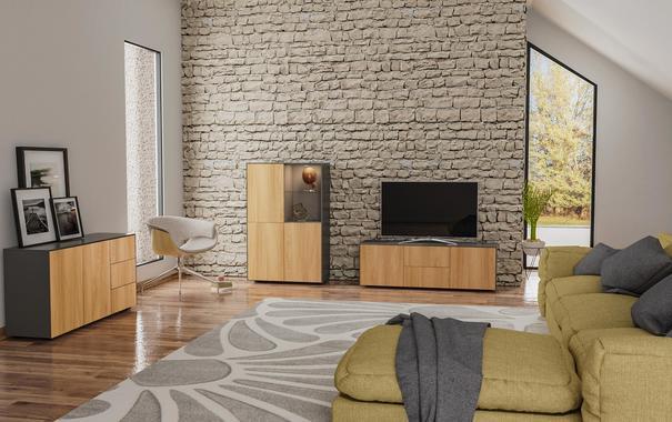 Contemporary Matt Grey and Oak Veneer TV Cabinet with Hidden Wireless Phone Charging image 7