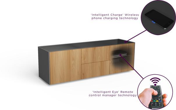 Contemporary Matt Grey and Oak Veneer TV Cabinet with Hidden Wireless Phone Charging image 8