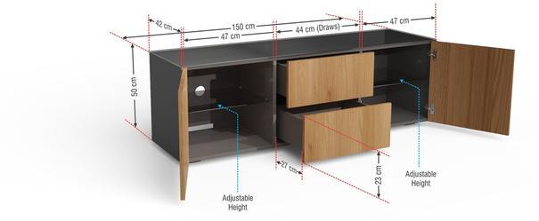 Contemporary Matt Grey and Oak Veneer TV Cabinet with Hidden Wireless Phone Charging image 9