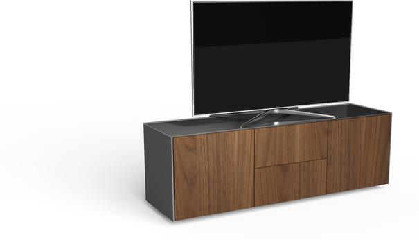 Contemporary Matt Grey and Walnut Veneer TV Cabinet with Hidden Wireless Phone Charging image 2