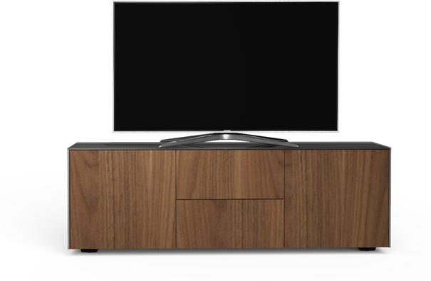 Contemporary Matt Grey and Walnut Veneer TV Cabinet with Hidden Wireless Phone Charging image 3