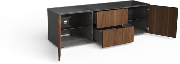 Contemporary Matt Grey and Walnut Veneer TV Cabinet with Hidden Wireless Phone Charging image 4