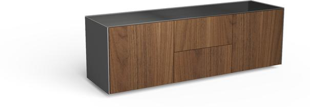 Contemporary Matt Grey and Walnut Veneer TV Cabinet with Hidden Wireless Phone Charging image 5