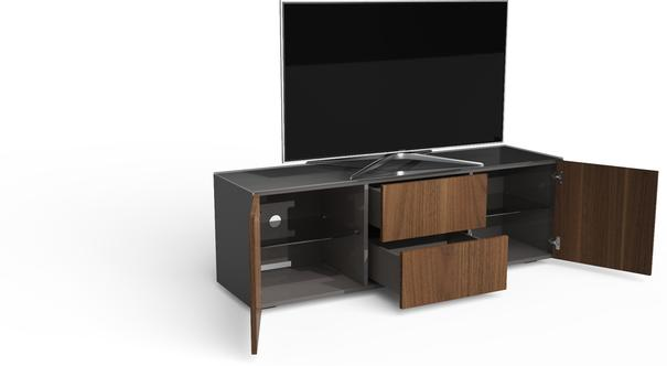 Contemporary Matt Grey and Walnut Veneer TV Cabinet with Hidden Wireless Phone Charging image 6