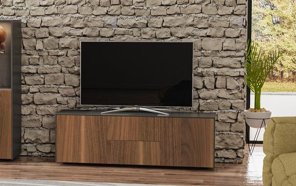 Contemporary Matt Grey and Walnut Veneer TV Cabinet with Hidden Wireless Phone Charging
