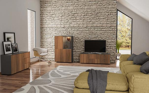 Contemporary Matt Grey and Walnut Veneer TV Cabinet with Hidden Wireless Phone Charging image 7