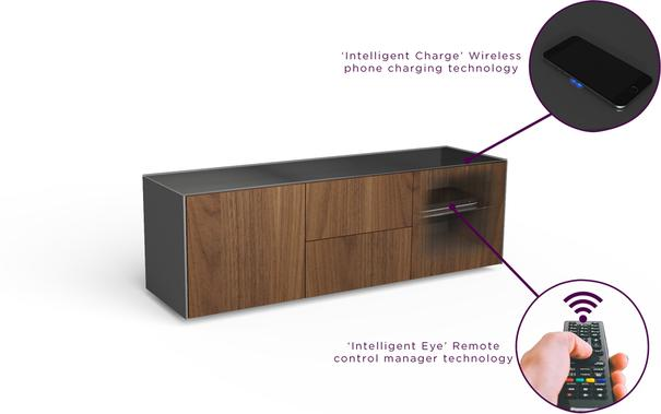 Contemporary Matt Grey and Walnut Veneer TV Cabinet with Hidden Wireless Phone Charging image 8