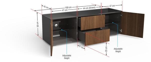 Contemporary Matt Grey and Walnut Veneer TV Cabinet with Hidden Wireless Phone Charging image 9