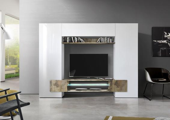 Sorriso Wall Unit White Gloss with Natural Finish and LED Lights