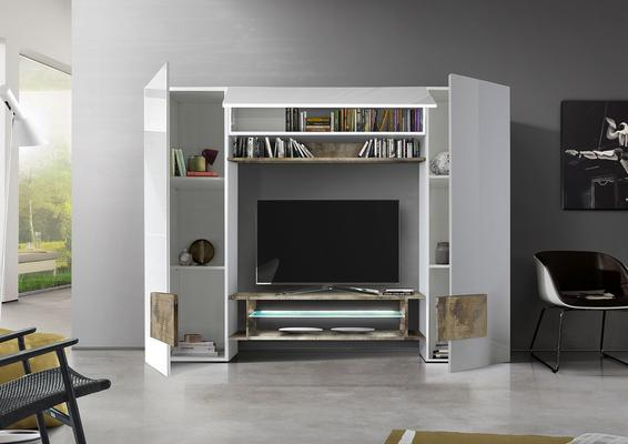 Sorriso Wall Unit White Gloss with Natural Finish and LED Lights image 2