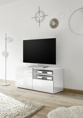Messina Small TV Unit - White Gloss Lacquer Finish with Decorative Stencil