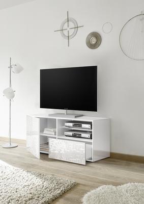 Messina Small TV Unit - White Gloss Lacquer Finish with Decorative Stencil image 2
