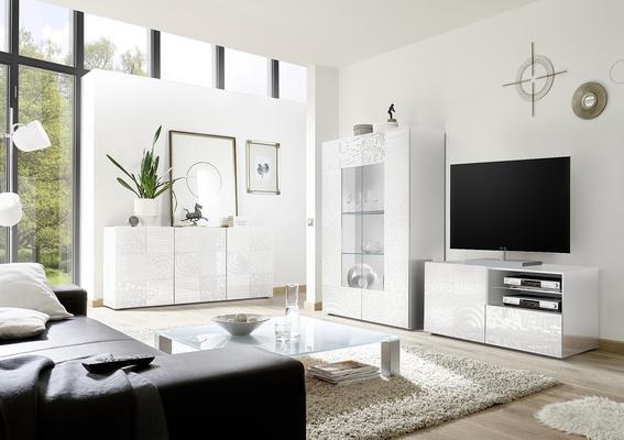 Messina Small TV Unit - White Gloss Lacquer Finish with Decorative Stencil image 3