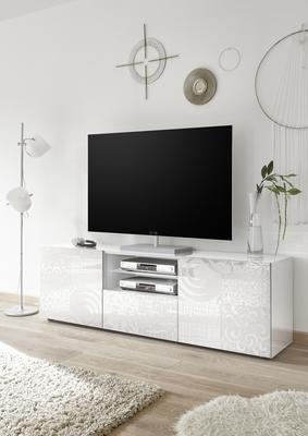 Messina Large TV Unit - White Lacquer Finish with Decorative Stencil