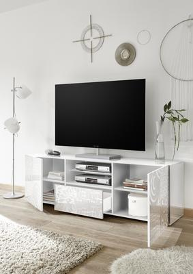 Messina Large TV Unit - White Lacquer Finish with Decorative Stencil image 2