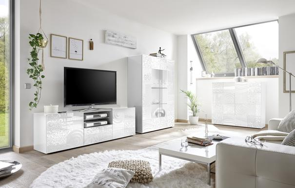 Messina Large TV Unit - White Lacquer Finish with Decorative Stencil image 3