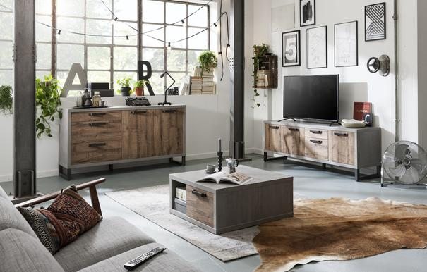 Manhattan Low Sideboard and TV Stand - Grey and New Aged Oak Finish image 2