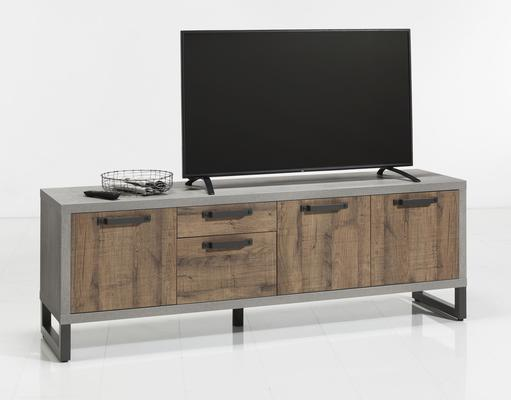 Manhattan Low Sideboard and TV Stand - Grey and New Aged Oak Finish