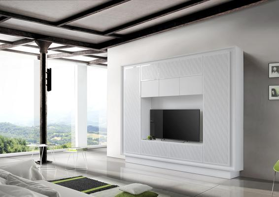 Luna Storage and TV Wall Unit - Matt White with striped stencil Finish