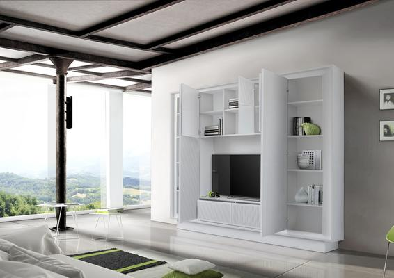 Luna Storage and TV Wall Unit - Matt White with striped stencil Finish image 2