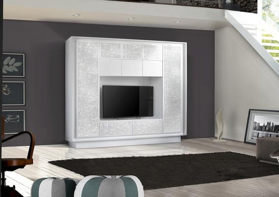 Luna Storage and TV Wall Unit - Matt White with flower stencil finish