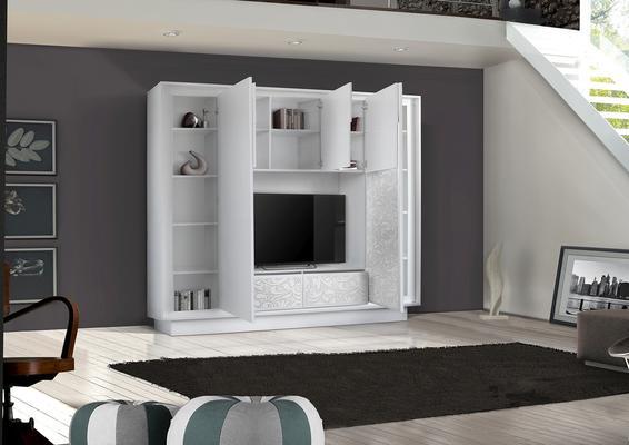 Luna Storage and TV Wall Unit - Matt White with flower stencil finish image 2