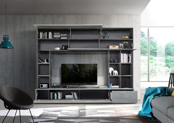Novara TV and Wall Storage System Oxide Anthracite and Grey Finish image 2