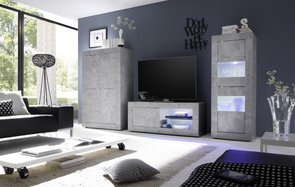 Urbino Collection Small TV Unit with Optional  LED Spot Light - Grey Finish image 2