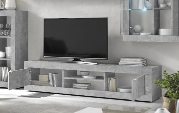 Urbino Collection Big TV Unit with optional LED Spotlight  - Grey Finish image 2