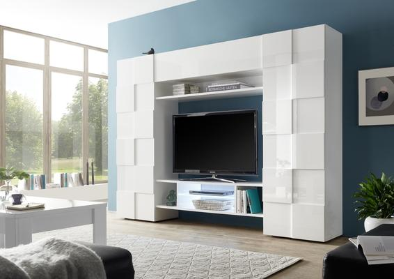 Treviso Wall Media Unit Including LED Spotlight - White Gloss Finish